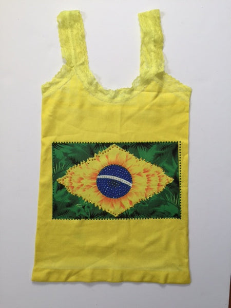 Brazil Flag Jungle & Beads Sleeveless T-Shirt Cami Style