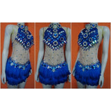 Blue Paradise Feathers Brazil Samba Parade Dress - BrazilCarnivalShop