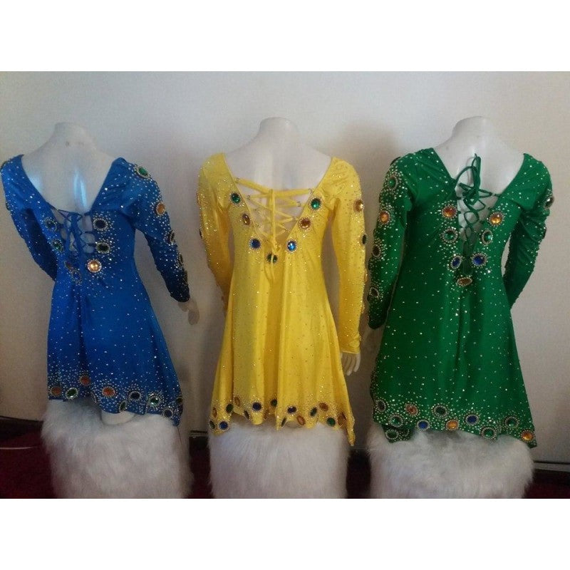 Brazil Colors Long Sleeve Sparkle Samba Dress - BrazilCarnivalShop