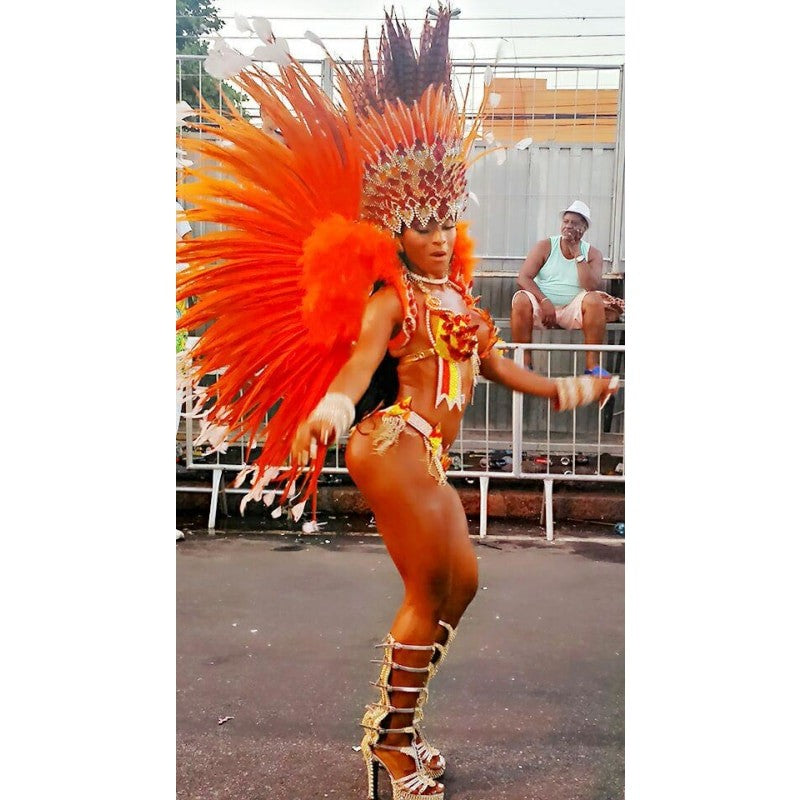 Paradise Fantasy Orange & Red Samba Costume
