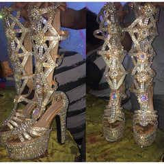 Bedazzled Gladiator Stones & Crystal Samba Shoes - Special Request Only