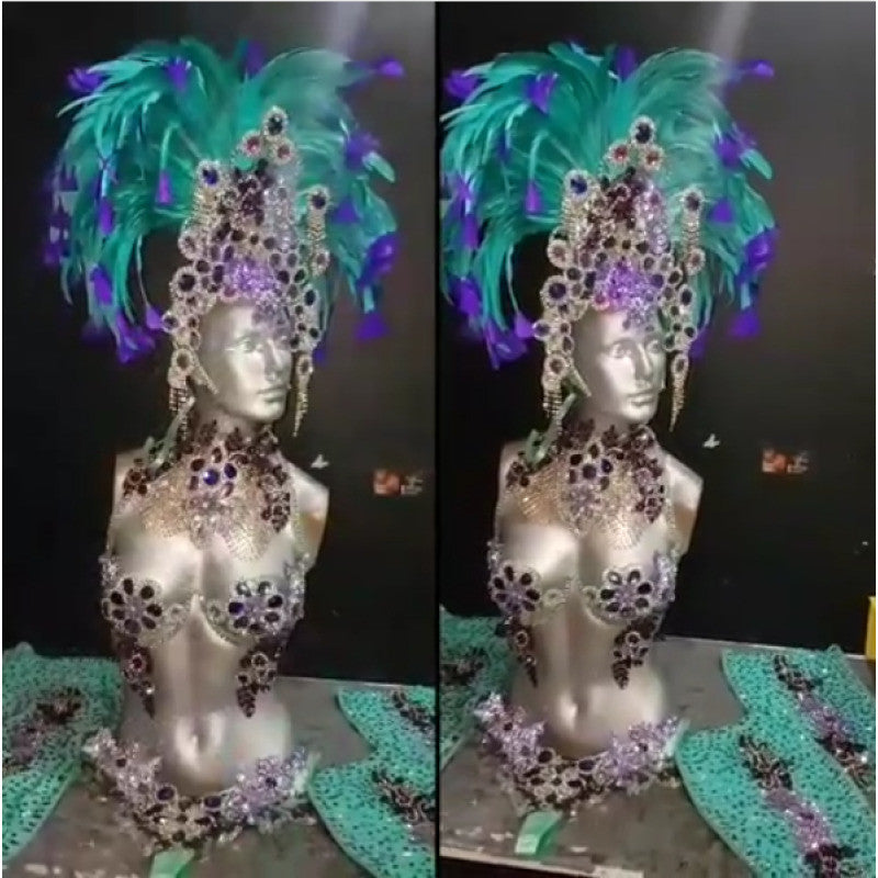 Peacock Green & Purple Luxury Bikini Samba Costume