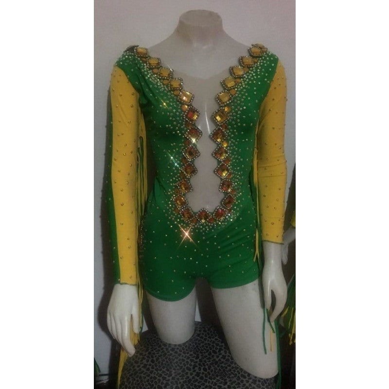 Viva Brazil Show Romper Green with Yellow Accent