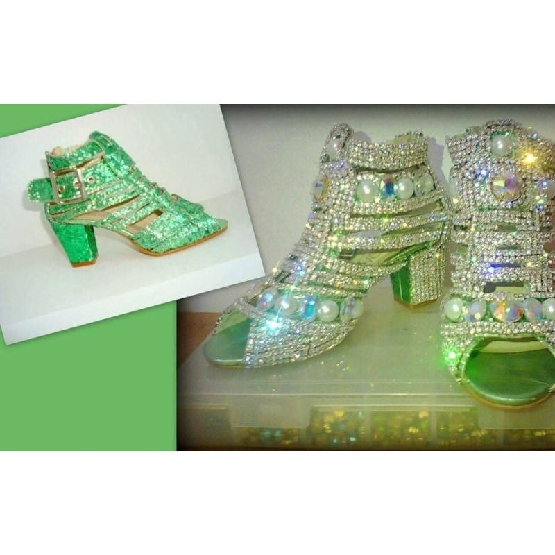 Brilliant Crystal Samba Sandals - Special Request - Leather - BrazilCarnivalShop