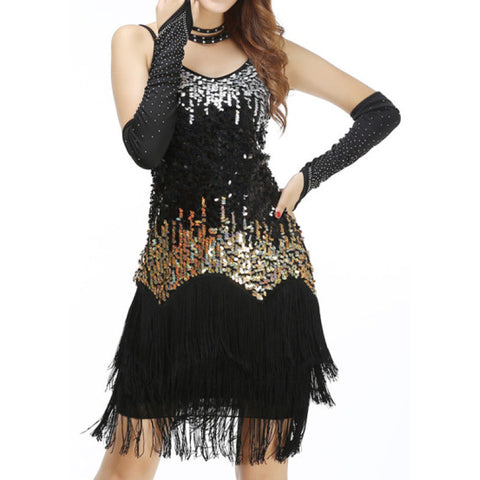 Ombre Style Sequines Show Fringes Dress - BrazilCarnivalShop