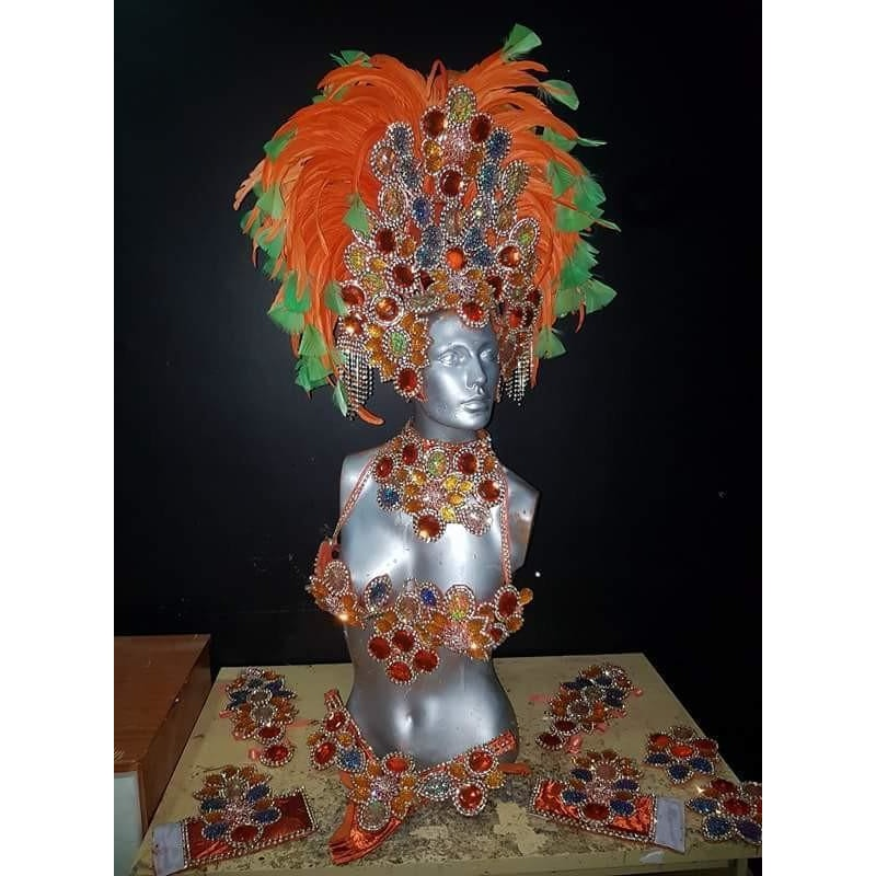 Orange and Green Luxury Bikini Samba Costume - BrazilCarnivalShop