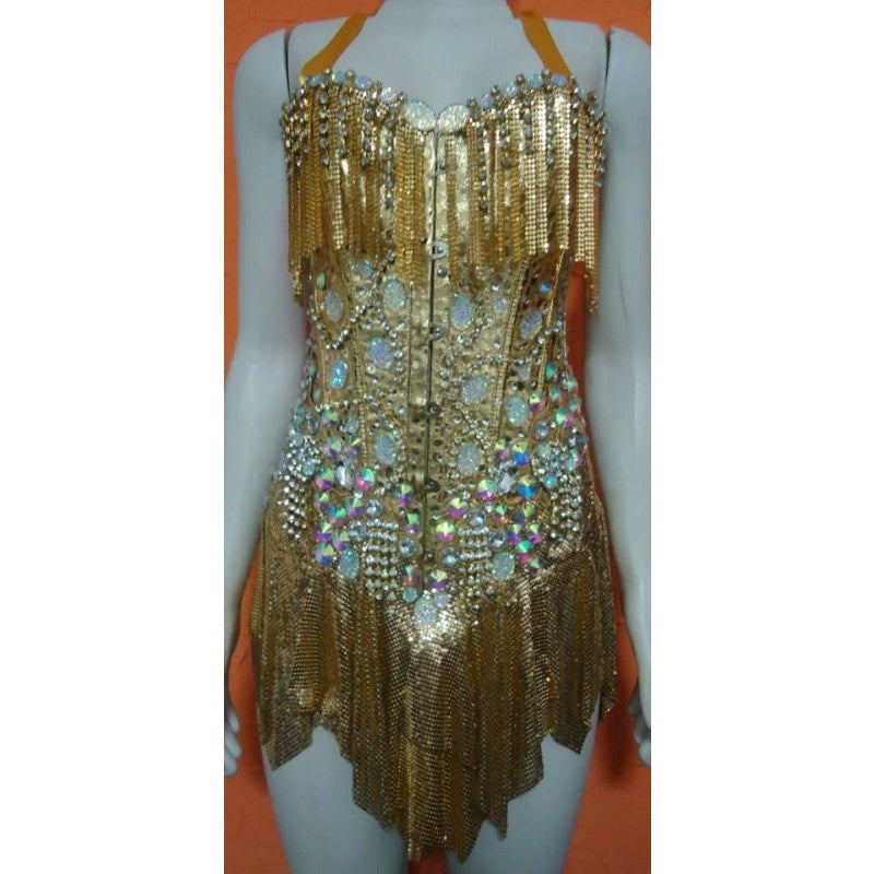 Passista de Ouro Samba no Pé Fringes Dress Corset