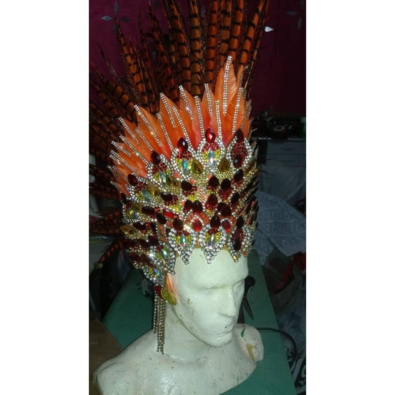 Paradise Fantasy Orange & Red Samba Costume - BrazilCarnivalShop