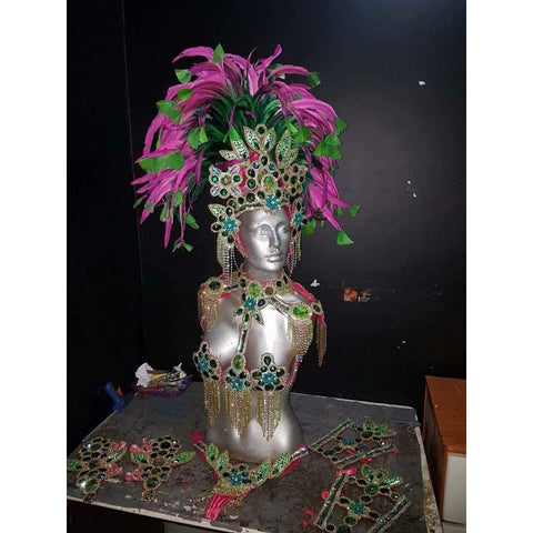 Orange and Green Luxury Bikini Samba Costume