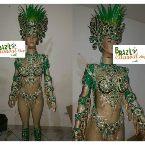 Green Tourmaline One Piece Luxury Bikini Samba Costume