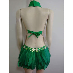 Green Paradise Feathers Parade One Piece with Headpiece