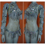 Luxury Silvered Samba Show Costume