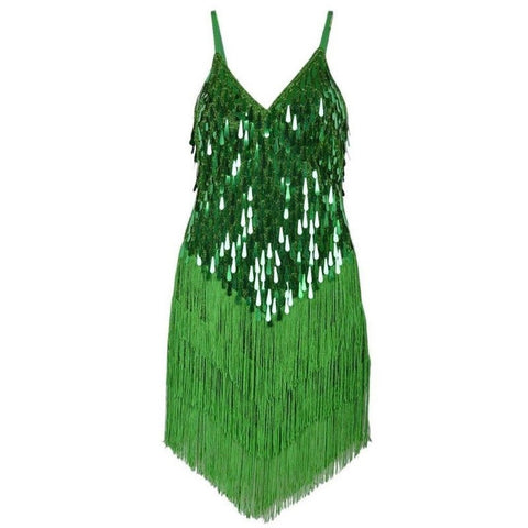 Samba Show Bodysuit Fringes-Jungle Green