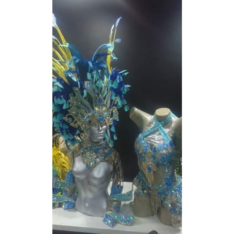 Aqua Blue & Yellow Luxury Bikini Samba Costume