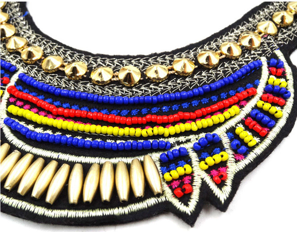 Round Pointy Beaded Tribal Chunky Necklace Royal Blue