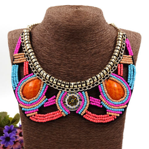 Pink & Orange Beaded Rio Necklace