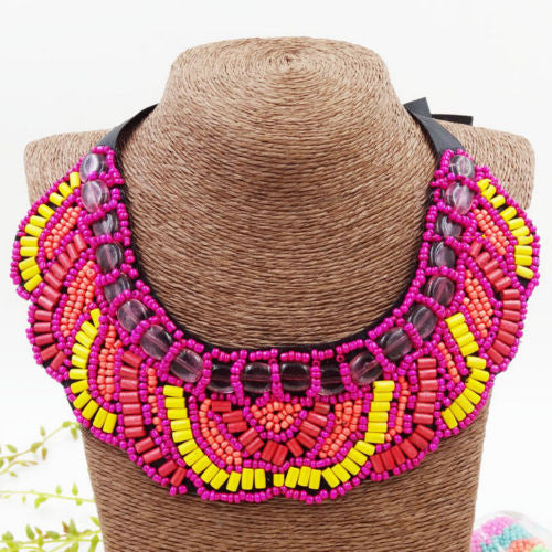 Yellow & Pink Bib Necklace Beaded Buzios - BrazilCarnivalShop