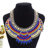 Round Pointy Beaded Tribal Chunky Necklace Royal Blue - BrazilCarnivalShop