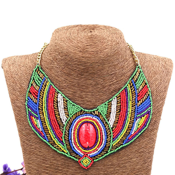 Beaded Tribal Chunky Necklace