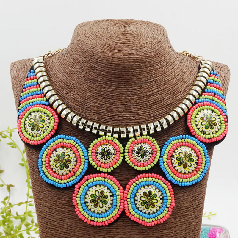 Circles Tribal Tropical Beaded Necklace