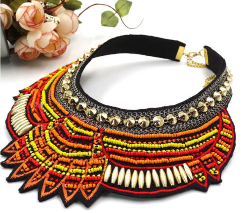 Round Pointy Beaded Tribal Chunky Necklace Red