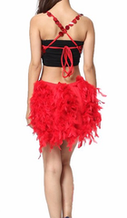 Red Luxury Sequins & Feathers Samba Show Sparkler Dress