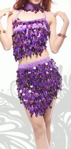 Tania Sequined Cropped Top & Mini Skirt Samba Show - BrazilCarnivalShop