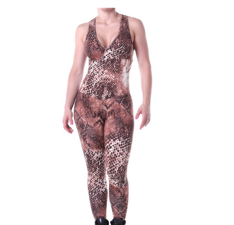 Overall Body Suit - Animal Print Brown
