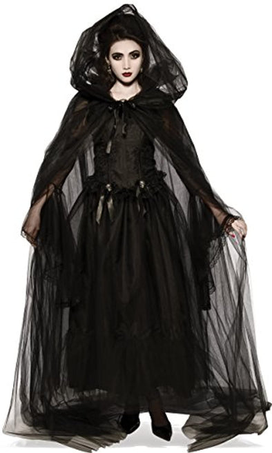 Women's Black Hooded Cape