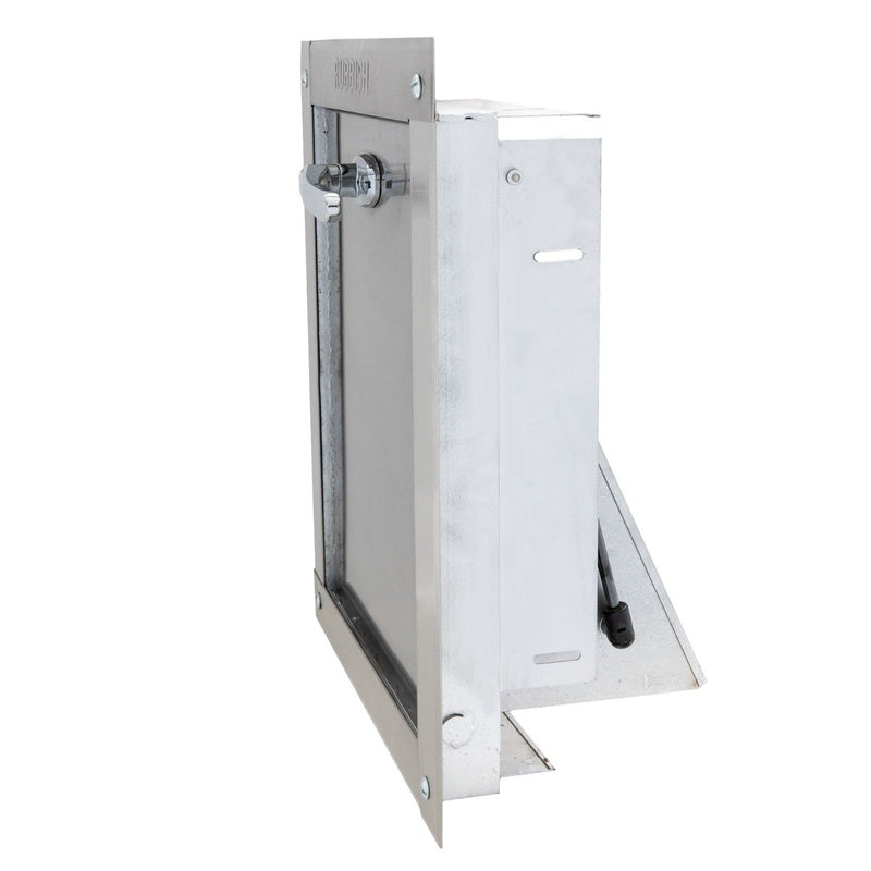 "Midland ""Style"" 12 x 15""  Stainless Steel Trash Chute Door - ADA Compliant Chrome L-handle with lock - Standard Closure"