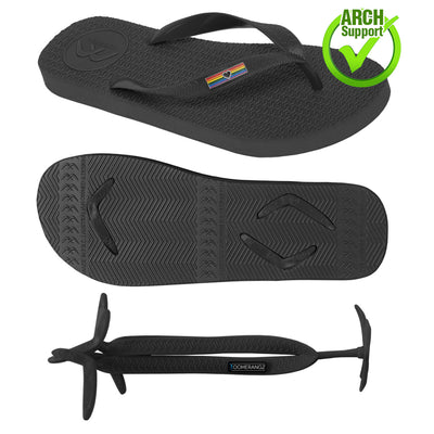 Men's/Unisex Pride Thongs + Additional Black Straps - Boomerangz Footwear