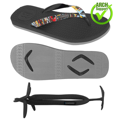 Men's Black/Grey Thongs + Ink Splatter Straps - Boomerangz Footwear