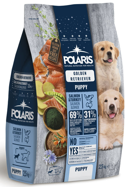 Polaris grainfree puppy salmon&turkey kuldne retriiver 2,5 kg