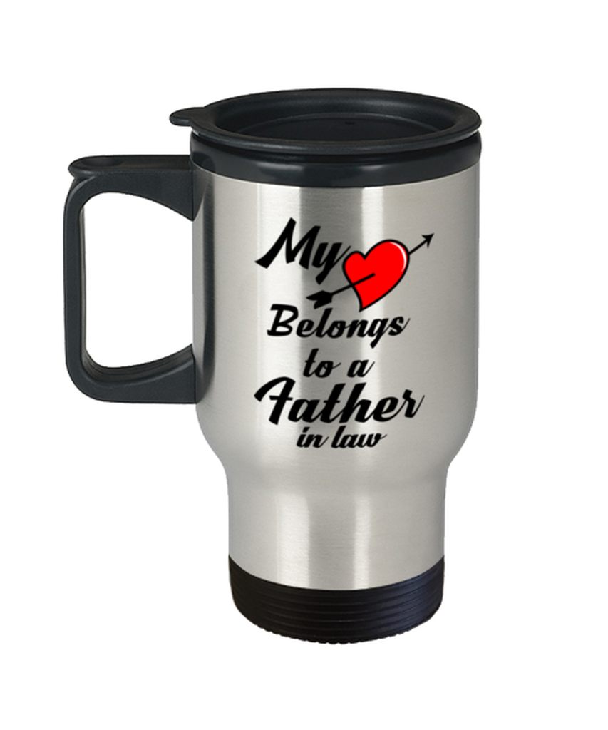 My Heart Belongs To A Father In Law Funny Unique Sentimental Travel Cup Birthday Christmas Holiday Fathers Day Coffee Mug For Father In Law Mpmugshop