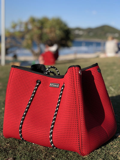 CarryAll Tote Bag (Coral Red) with Background - Nuprene.co