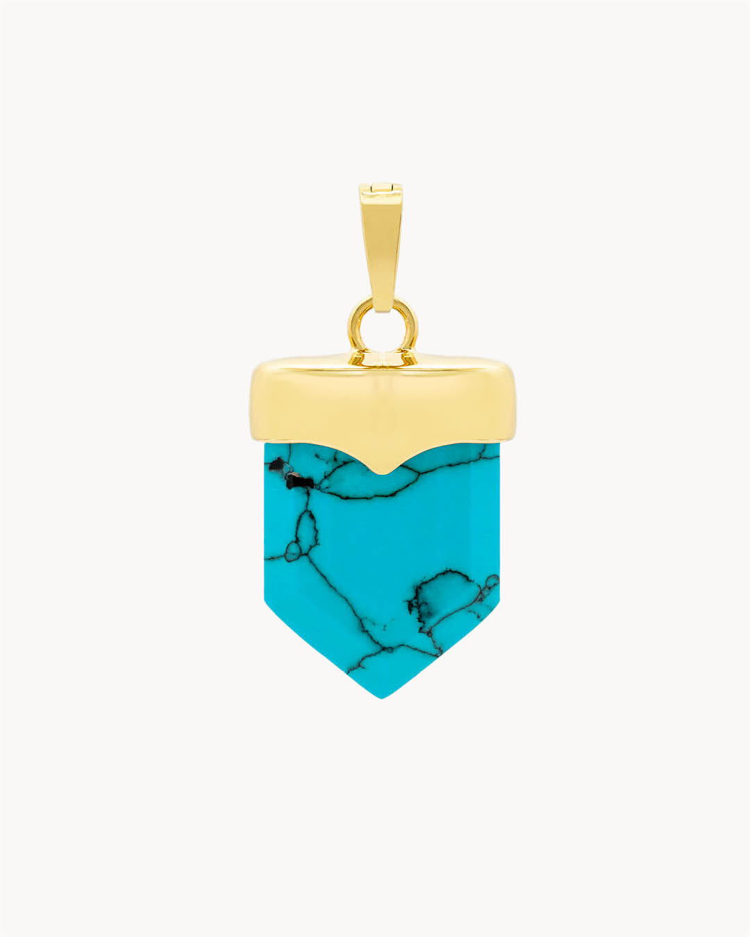 Pendentif Bouclier Howlite Turquoise Pierre Serenity, Or