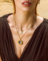 Fearlessness Stone Abalone Shell Sun Volles Halsketten-Set, Gold
