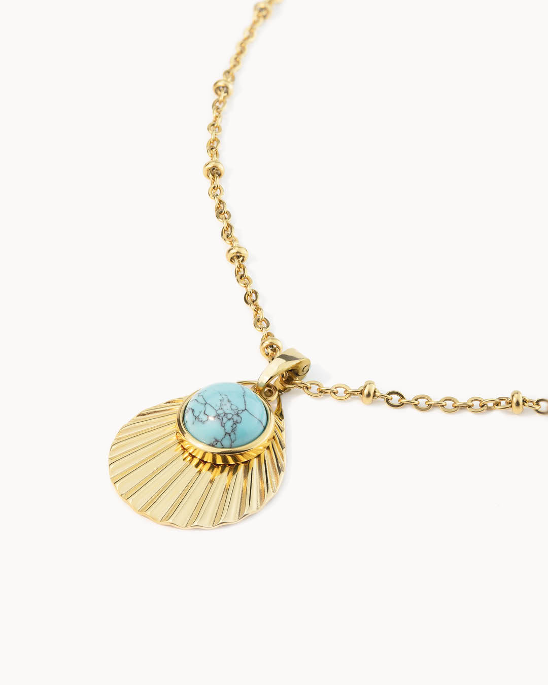 Serenity Stone Turquoise Howlite Shell Collier Set, Or