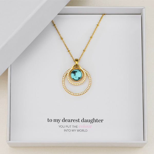 Daughter's Peace Halo Necklace Set, Gold