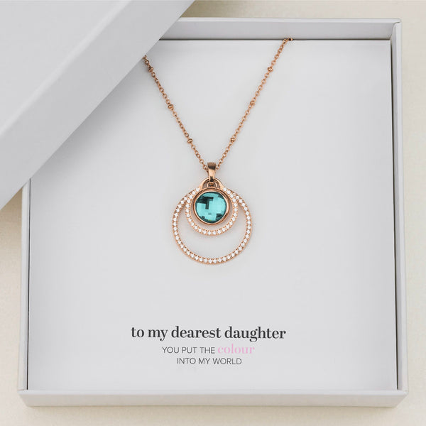Daughter's Peace Halo Necklace Set, Rose Gold