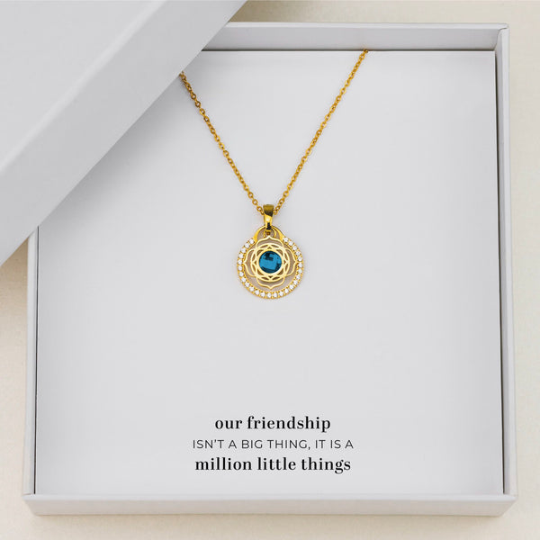 Friendship Blossom Halo Necklace Set, Gold