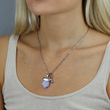 Affection Shield Pendant Silver, Blue Lace Agate
