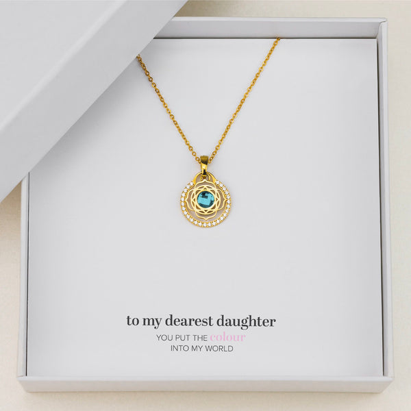 Daughter's Peace Blossom Halo Necklace Set, Gold