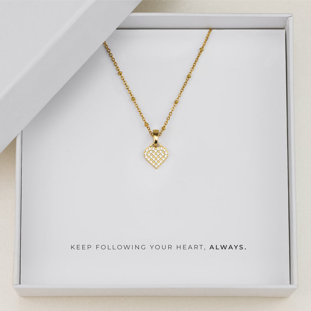 i Love. Brilliant Heart Necklace Set, Gold