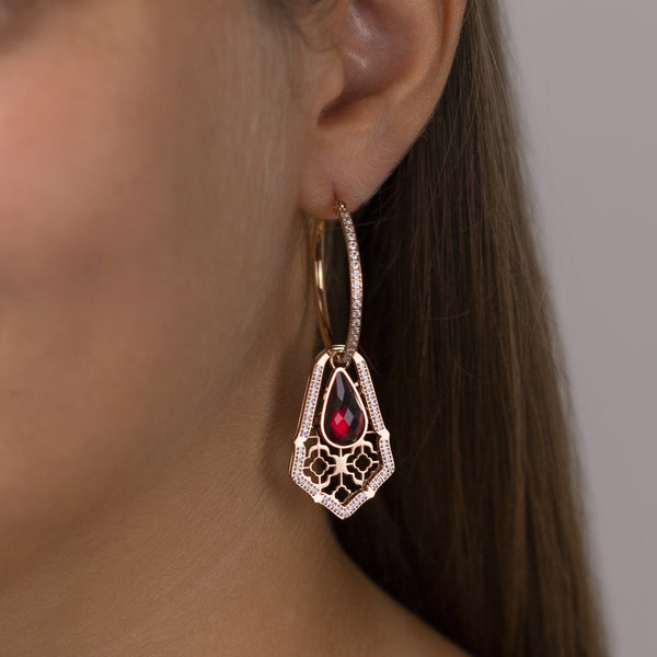 Large Starlight Hoop Earrings, Rose Gold