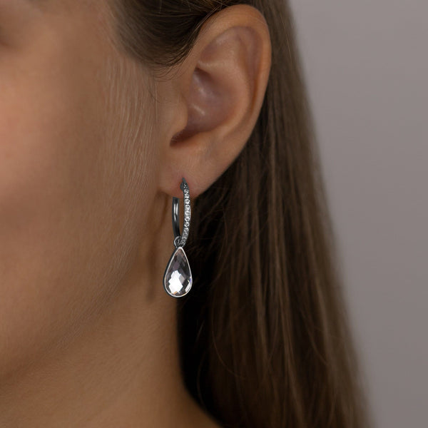 Medium Starlight Hoop Earrings, Silver