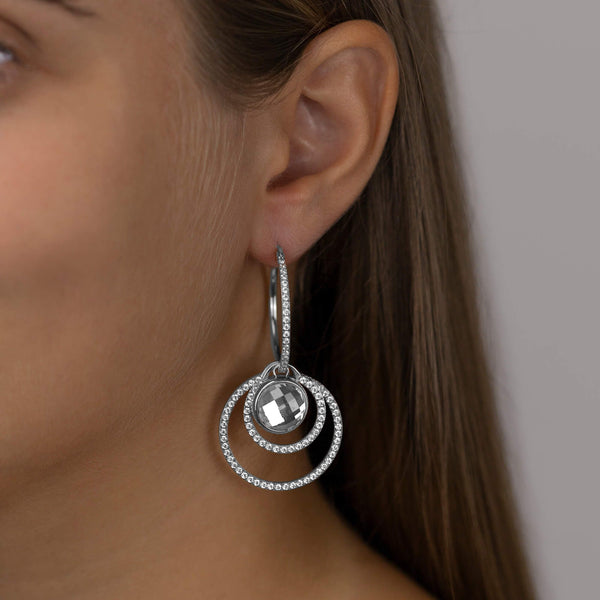 Large Starlight Hoop Earrings, Silver