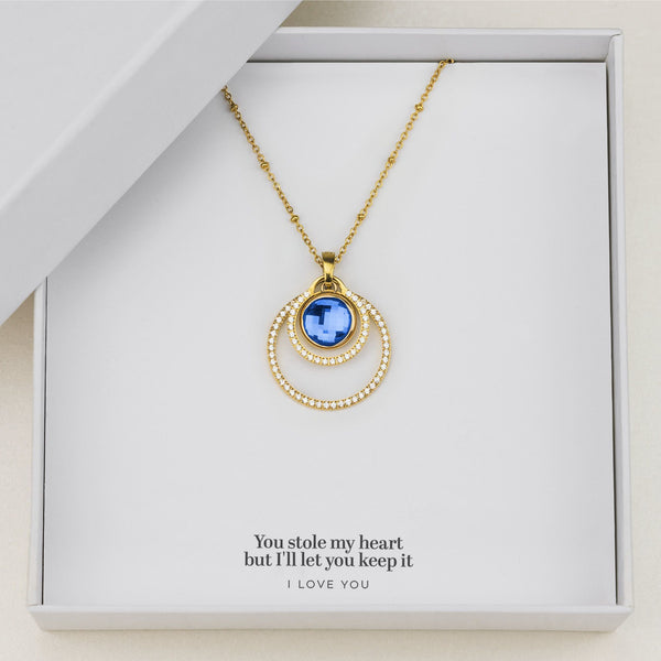 Love's Uniqueness Halo Necklace Set, Gold