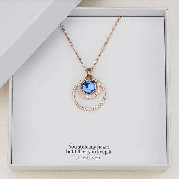 Love's Uniqueness Halo Necklace Set, Rose Gold