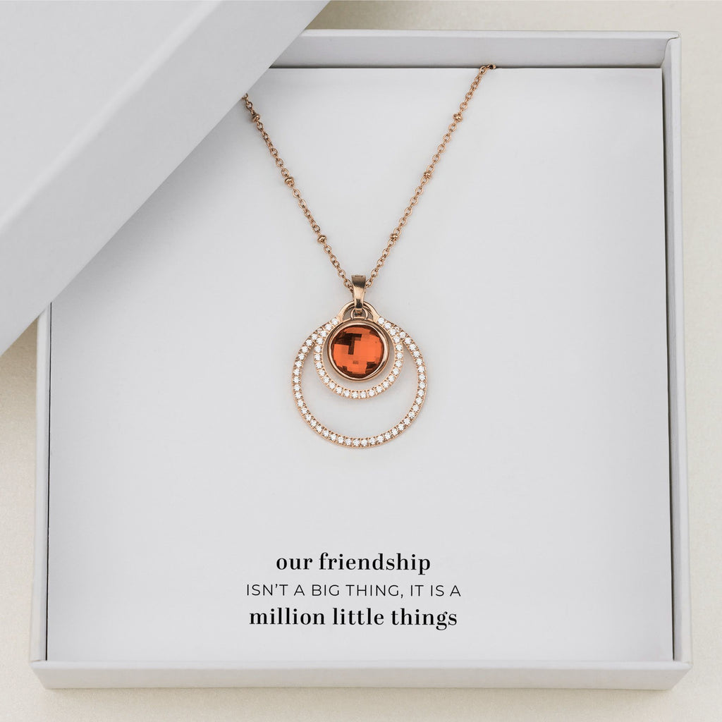 Friend's Happiness Halo Necklace Set, Rose Gold